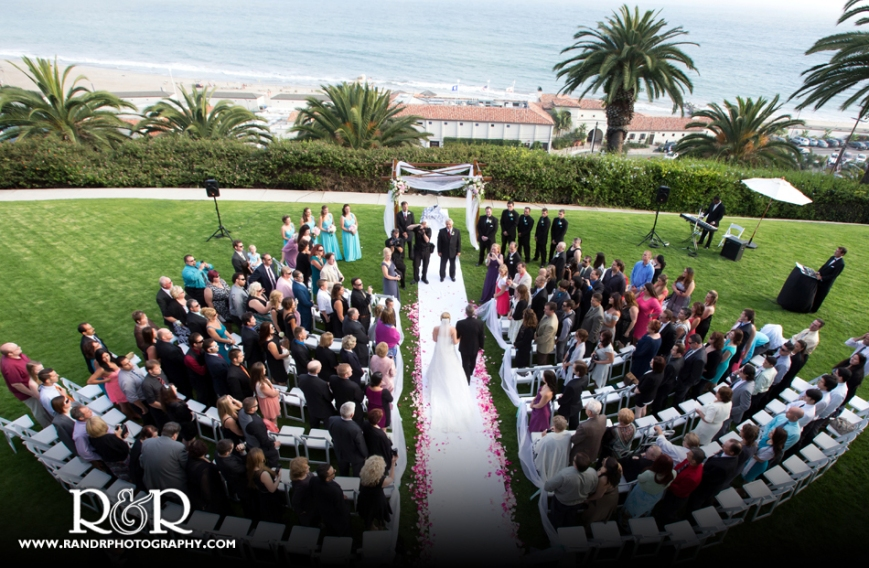 The view from above of the beautiful ceremony overlooking the ocean