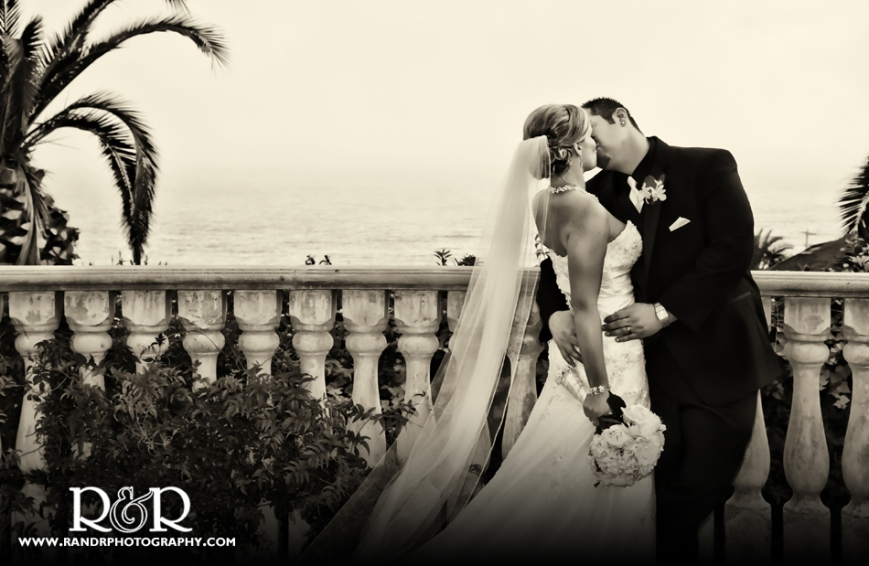 A romantic kiss on the balcony of the Bel Air Bay Club